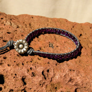 Amethyst Bead and Leather Wrap Bracelet (WB 55)