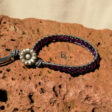Load image into Gallery viewer, Amethyst Bead and Leather Wrap Bracelet (WB 55)