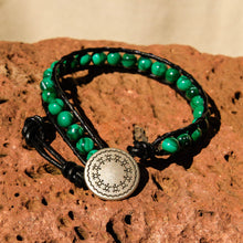 Load image into Gallery viewer, Malachite Bead and Leather Wrap Bracelet (WB 56)