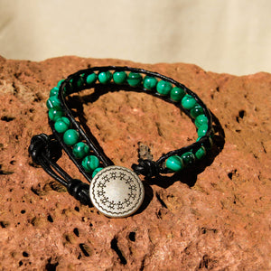 Malachite Bead and Leather Wrap Bracelet (WB 56)
