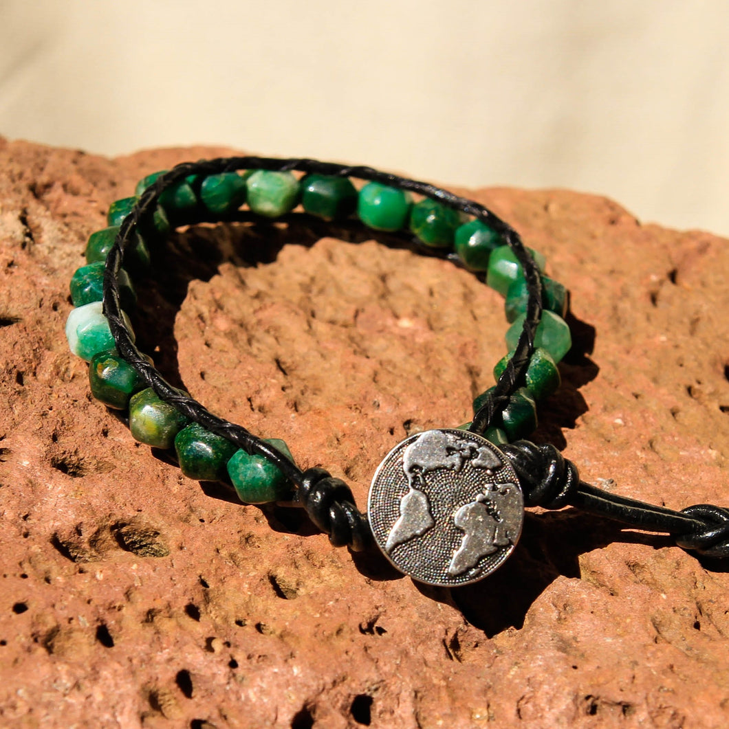 Green Tree Agate Bead and Leather Wrap Bracelet (WB 57)