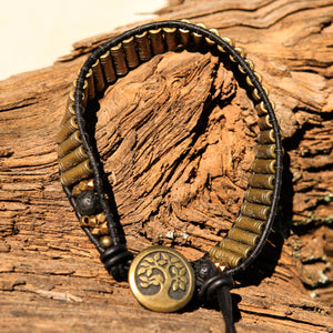 Brass Metal Bead and Leather Wrap Bracelet (WB 58)