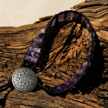 Load image into Gallery viewer, Flourite Bead and Leather Wrap Bracelet (WB 59)
