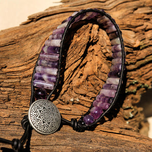 Flourite Bead and Leather Wrap Bracelet (WB 59)