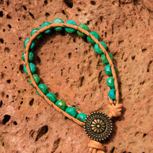 Load image into Gallery viewer, Turquoise Bead and Leather Wrap Bracelet (WB 60)
