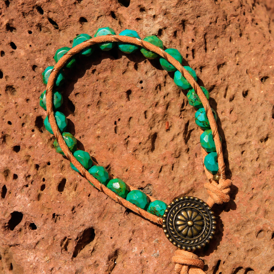 Turquoise Bead and Leather Wrap Bracelet (WB 60)