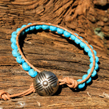 Load image into Gallery viewer, Turquoise (Howlite) Bead and Leather Wrap Bracelet (WB 64)
