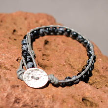 Load image into Gallery viewer, Snowflake Obsidian Bead and Leather Wrap Bracelet (WB 48)