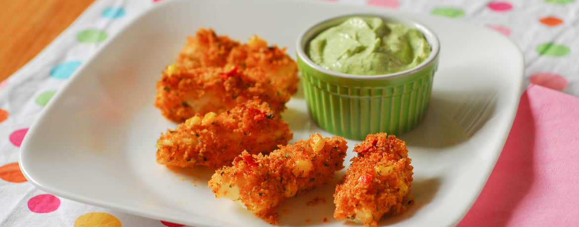 Chipotle & Lime Cod Dippers with Avocado Cream Sauce