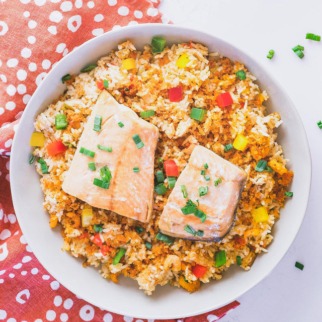 Instapot Cajun Salmon & Dirty Rice