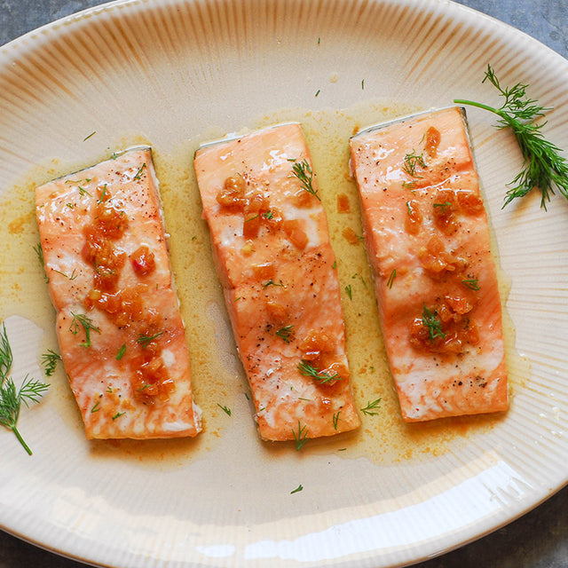 Wild Salmon with Shallot Butter Sauce