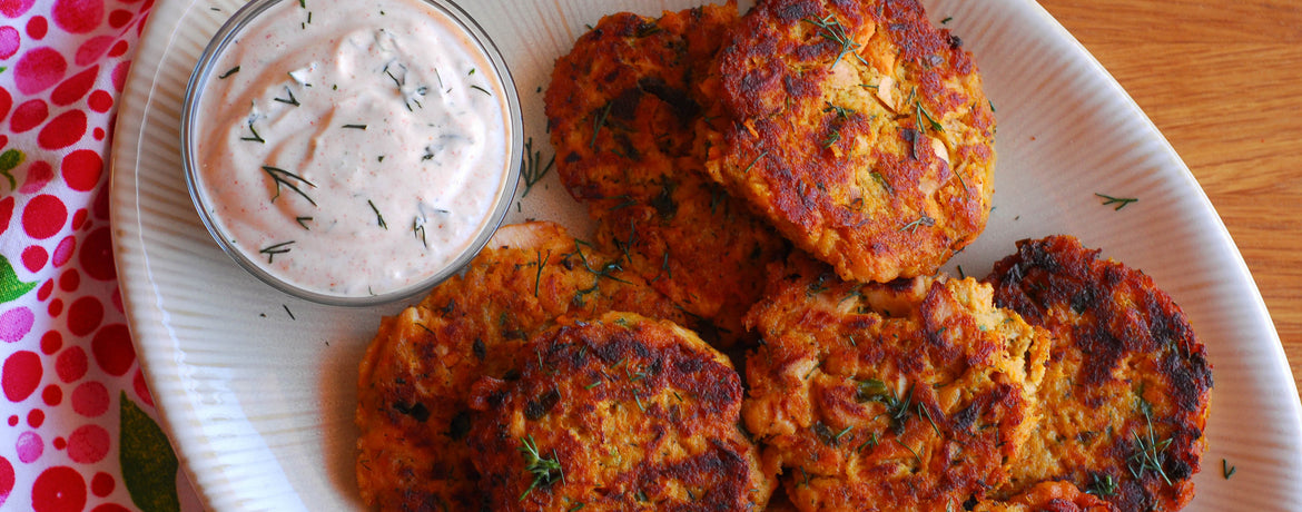 Sweet Potato Salmon Cakes with Yogurt Chipotle Sauce