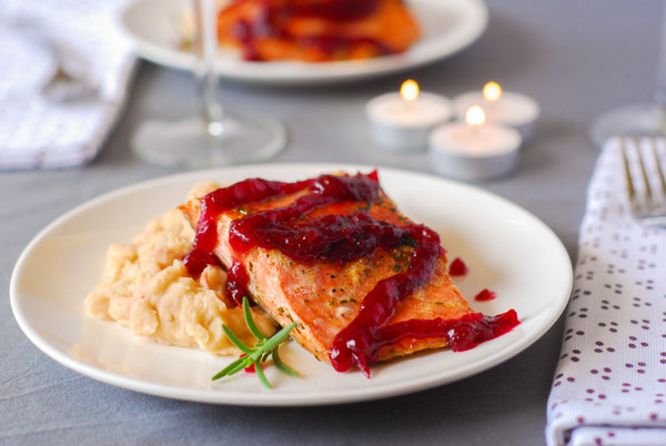 Seared Wild Sockeye Salmon with Citrus Cranberry Sauce