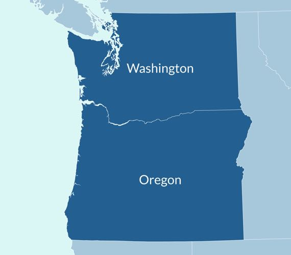 Washington Oregon Map
