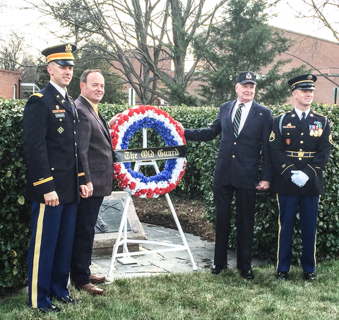 Base Commander, Platoon Leader, Andy Carlson and Flip Godfrey with wreath at Black Jack's grave
