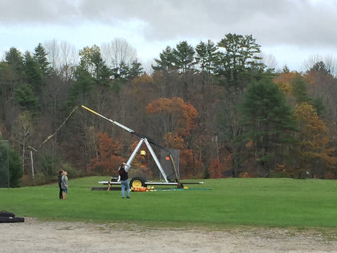 Dayton Destroyers flinging pumpkins at Skyline Farm Museum