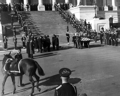 Black Jack in front of the church during JFK's funeral procession