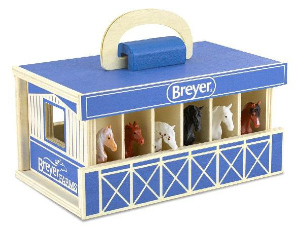 Breyer Farms Wooden Carry Stable with 6 horses. Blue with with Breyer Farms and Breyer brand on various sides.