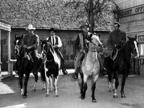 Original cast of Bonanza with their horses - 1959; photo credit: Wikipedia