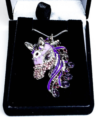 Bejeweled Purple Horse Head Necklace at Triple Mountain