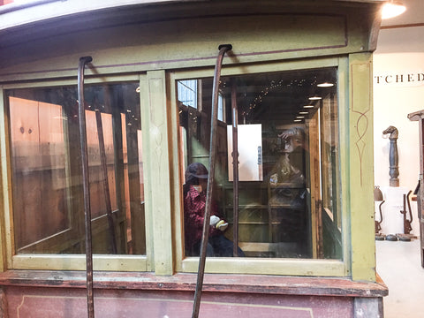 Horse-Drawn School Bus at Skyline Farm Museum showing holes for reins