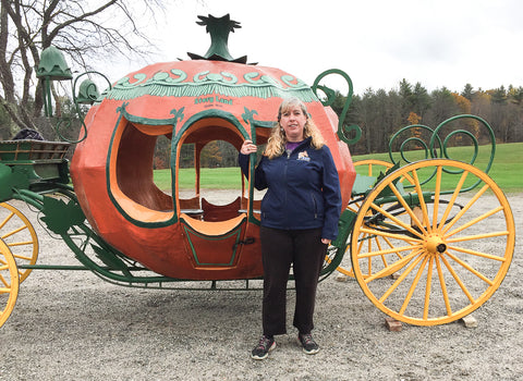Eleda with Story Land pumpkin coach at Skyline Farm