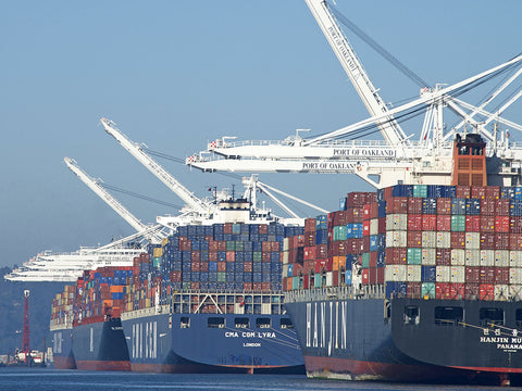 loaded container ships at port