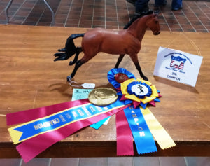 Copperfox Irish Sports horse Fabio taking the Championship at Quarter Horse Congress Model Horse Show 2016