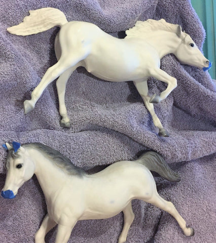 Breyer model horse restoration with bleach - before