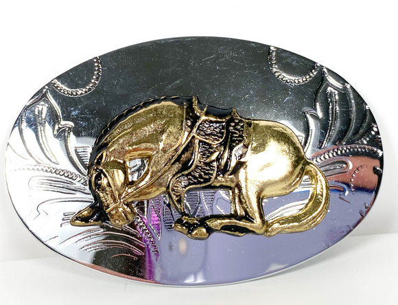 Belt Buckle - Bucking Bronco (Sale supports Harvest Hills Animal Shelter)