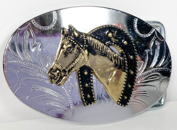 Belt Buckle - Horse Head in Horse Shoe (Sale supports Harvest Hills Animal Shelter)
