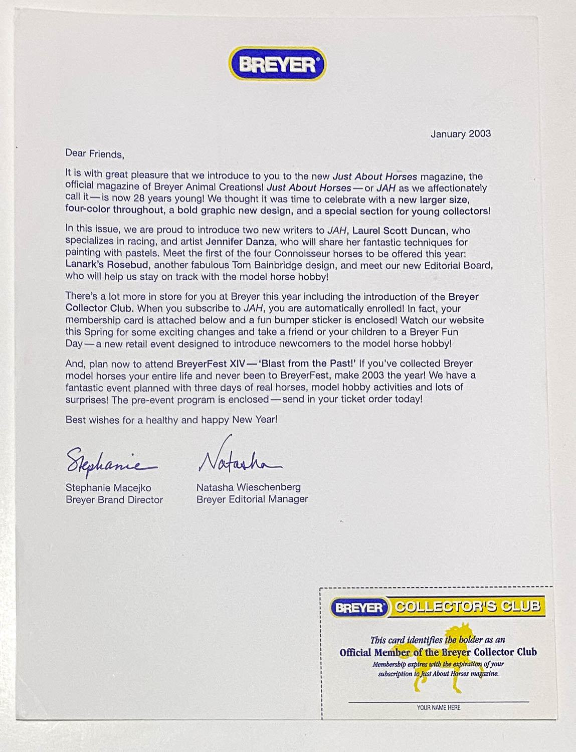 Collectors Club Card and Welcome Letter, 2003 (sale for charity)