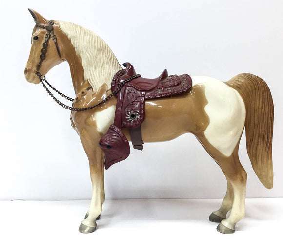 Western Horse, Palomino Pinto - Black Eyes, Silver-Trimmed Saddle
