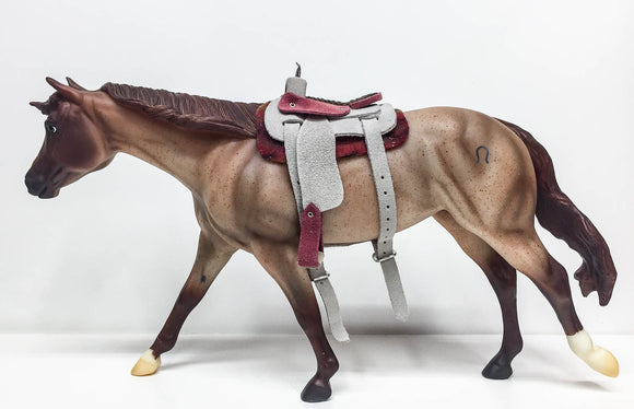 Western Saddle, Raspberry and Grey (Sale supports Harvest Hills Animal Shelter)