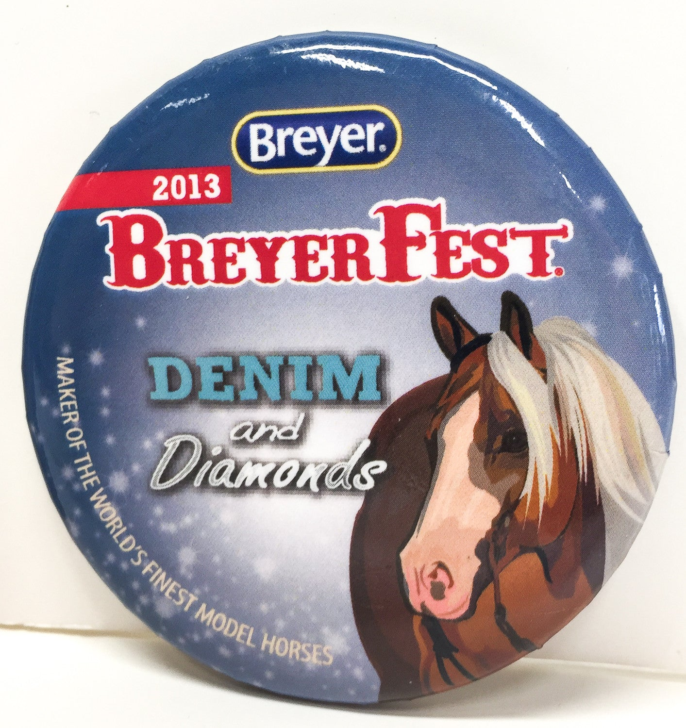 Button - Breyerfest 2013, Smart and Shiney - Blue - triple-mountain