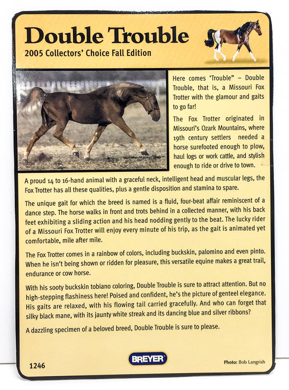 Missouri Fox Trotter ~ Double Trouble Bio Card