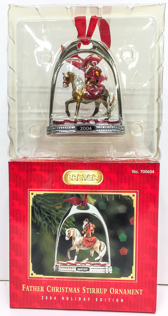 2004 Holiday Stirrup Ornament ~ Father Christmas & Glittery