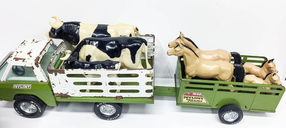 Nylint Farms Pressed Steel Stake-Bed Truck and Trailer with Horses and Cattle