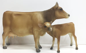 Cow and Calf, Polled Jersey - VARIATION: Dark color
