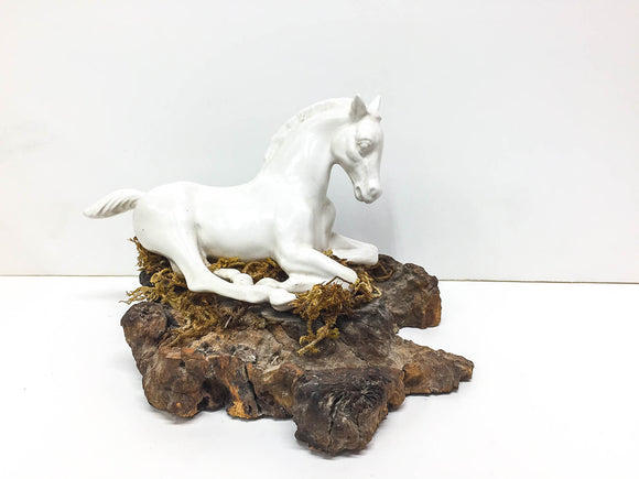 Lying Foal (Knockoff) in Glazed White Ceramic