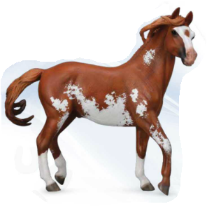 Mustang Stallion, Sorrel Pinto (1:12 Scale)