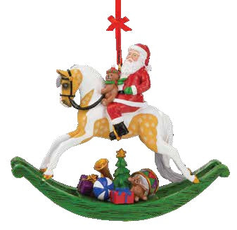2021 Santa Ornament - Santa on Rocking Horse - ADVANCE SALE
