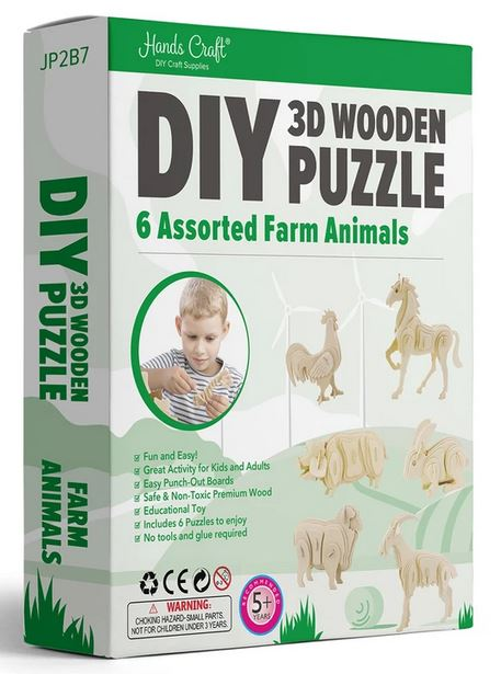 3D Wood Puzzle ~ 6-pk of Assorted Farm Animals