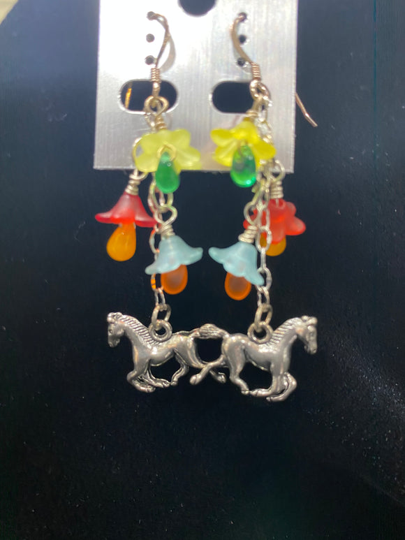 Horses and Flowers Earrings