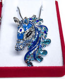 3D Bejeweled Horse Head - Blue - triple-mountain