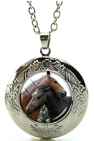 Best Friends Foals Glass Cabochon Locket Necklace - triple-mountain