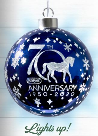 2020 Breyer 70th Anniversary Ornament, Blown Glass w/ Light Up Feature - ADVANCE SALE