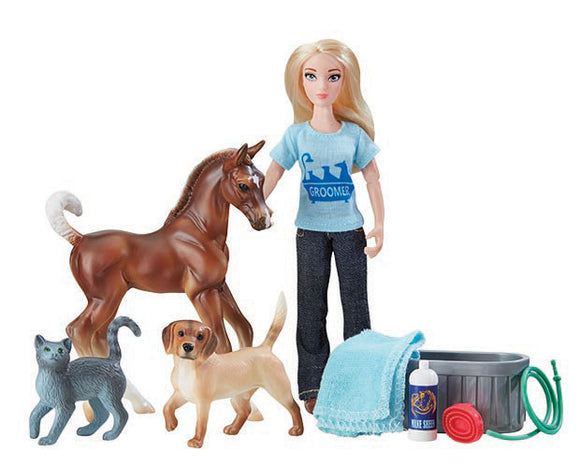 Pet Groomer Set w/ Trotting Stock Horse Foal