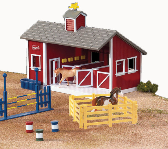 Red Stable Set w/ Two Horses