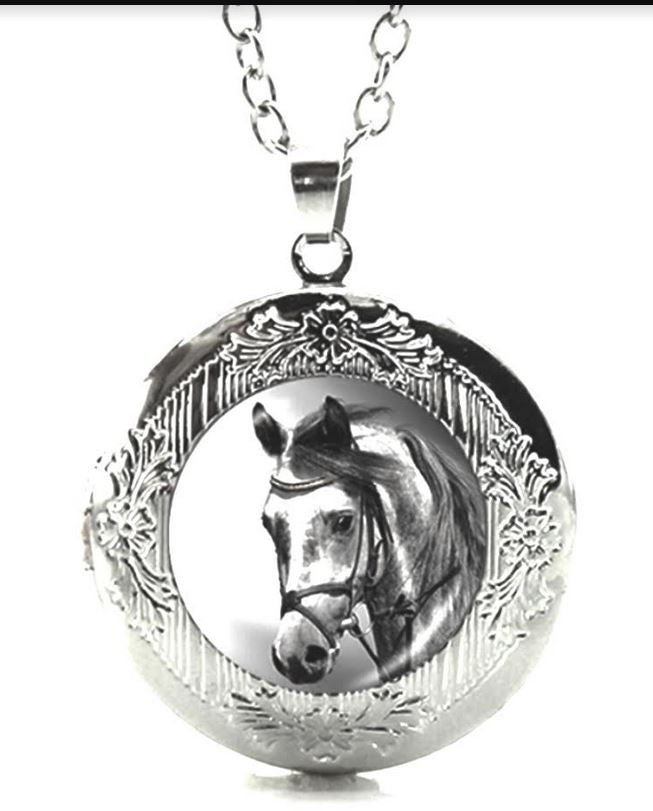 Grey Horse Head Glass Cabochon Locket
